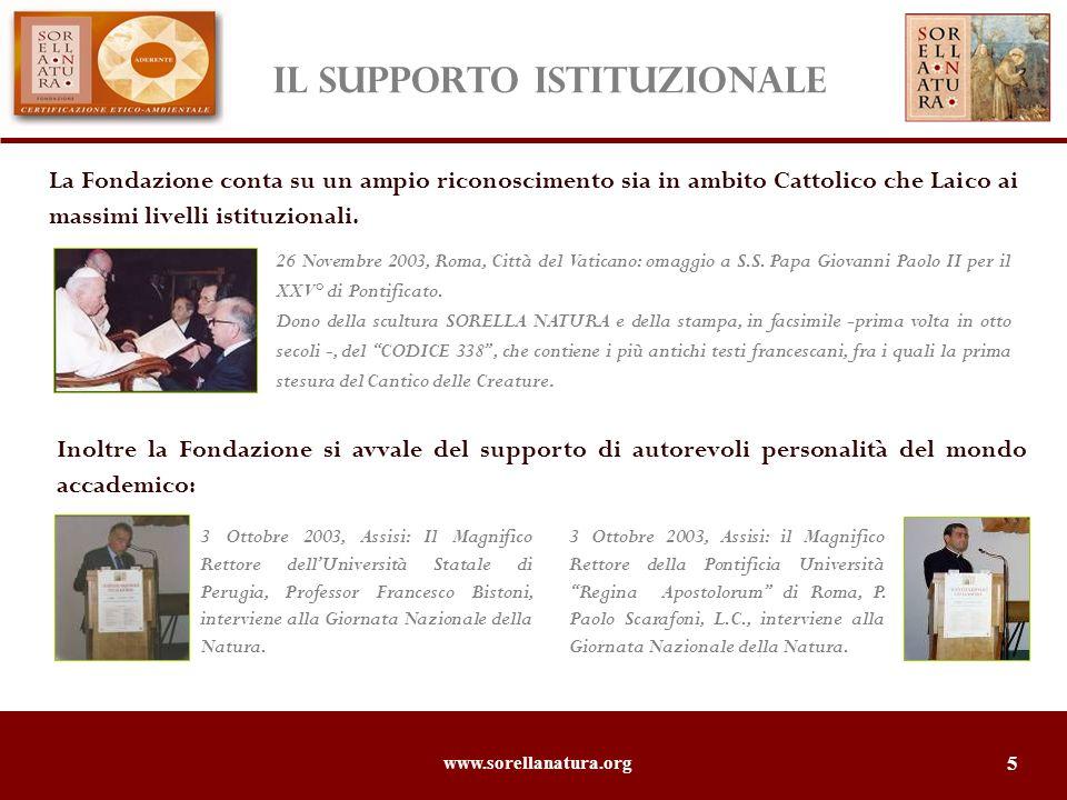 www.sorellanatura.org 6 La Fondazione Sorella Natura ha stampato in facsimile (per la prima volta in otto secoli) il CODICE 338, che contiene la prima stesura del Cantico delle Creature e le più antiche fonti francescane.