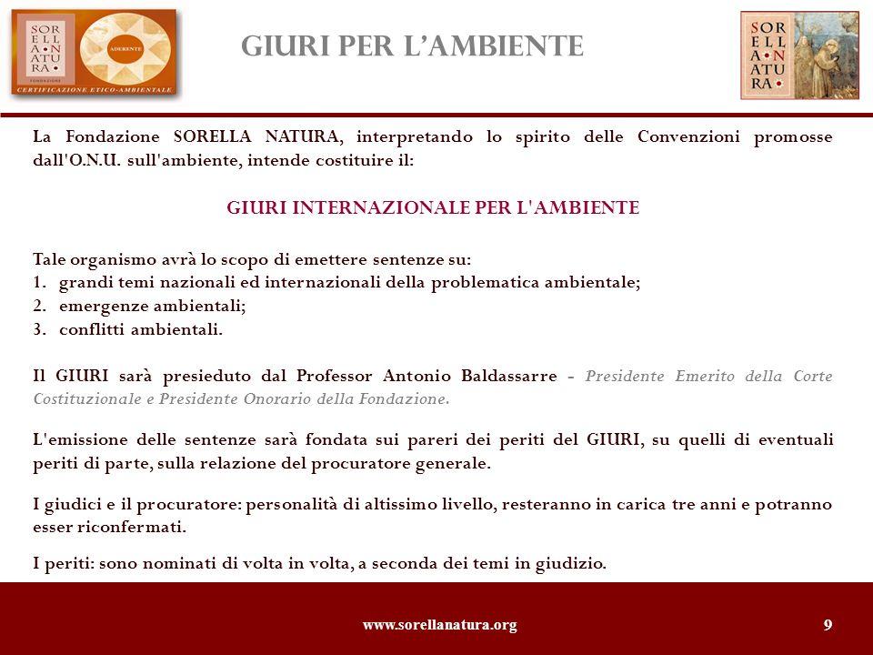 www.sorellanatura.org 10 Sorella Natura è un bimestrale che analizza il rapporto fra leconomia e lambiente in funzione di uno sviluppo sostenibile e socialmente responsabile.