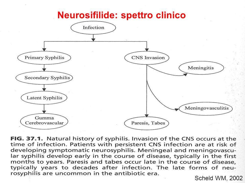 Scheld WM, 2002 Neurosifilide: spettro clinico