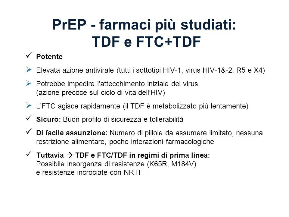 PrEP - farmaci più studiati: TDF e FTC+TDF Potente Elevata azione antivirale (tutti i sottotipi HIV-1, virus HIV-1&-2, R5 e X4) Potrebbe impedire latt