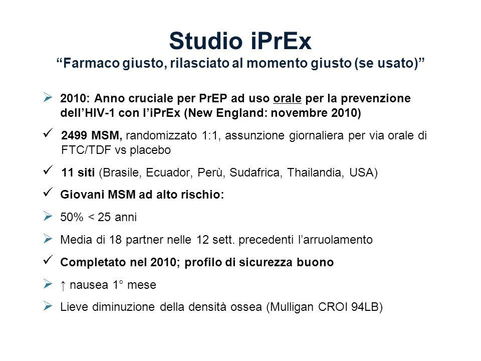Studio iPrExFarmaco giusto, rilasciato al momento giusto (se usato) 2010: Anno cruciale per PrEP ad uso orale per la prevenzione dellHIV-1 con liPrEx