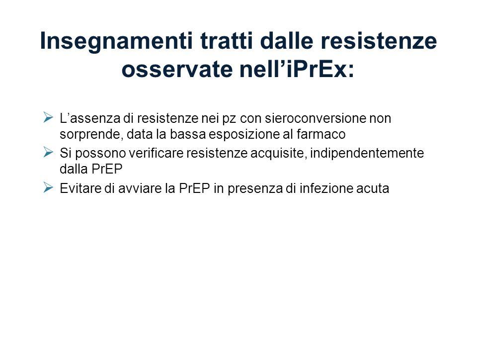 Insegnamenti tratti dalle resistenze osservate nelliPrEx: Lassenza di resistenze nei pz con sieroconversione non sorprende, data la bassa esposizione