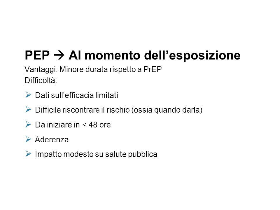 PrEP Prima dellesposizione Vantaggi: efficacia discreta (proof of concept tramite gli studi iPrEX & CAPRISA 004) Difficoltà: Aderenza Somministrazione Rapporto costi/efficacia Minimizzare le resistenze