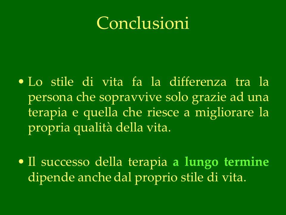 Conclusioni Lo stile di vita fa la differenza tra la persona che sopravvive solo grazie ad una terapia e quella che riesce a migliorare la propria qualità della vita.