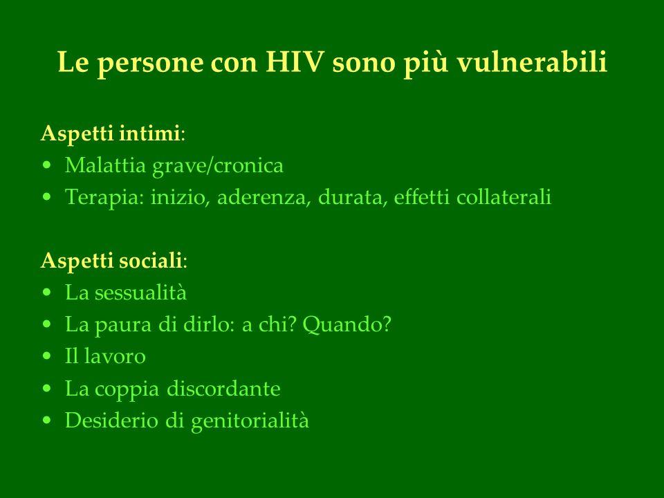 Le persone con HIV sono più vulnerabili Aspetti intimi: Malattia grave/cronica Terapia: inizio, aderenza, durata, effetti collaterali Aspetti sociali: La sessualità La paura di dirlo: a chi.