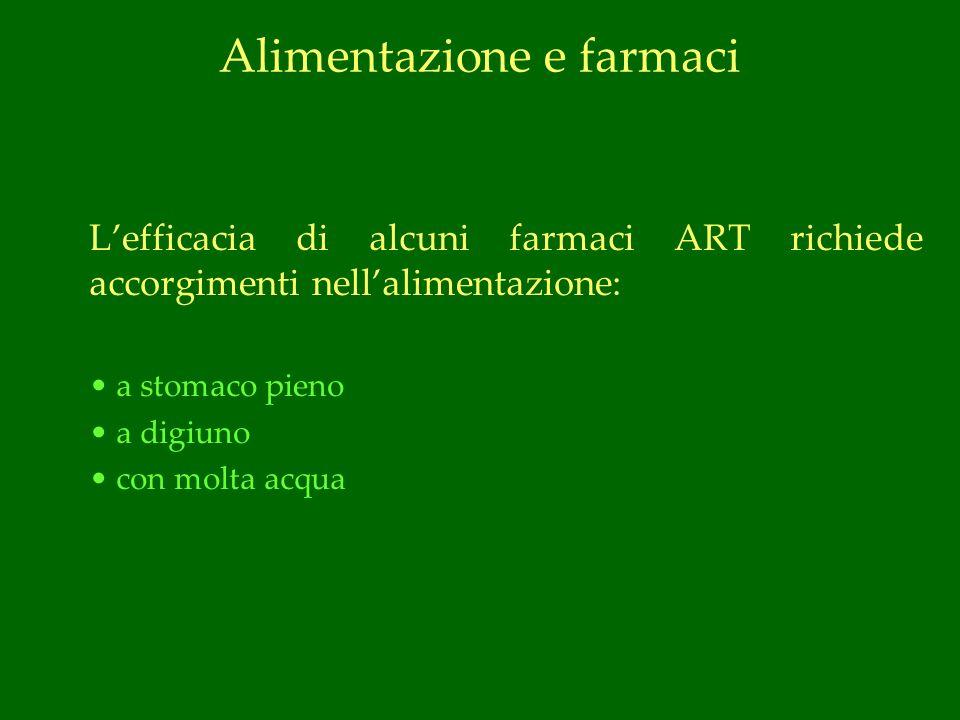 Alimentazione e farmaci Lefficacia di alcuni farmaci ART richiede accorgimenti nellalimentazione: a stomaco pieno a digiuno con molta acqua