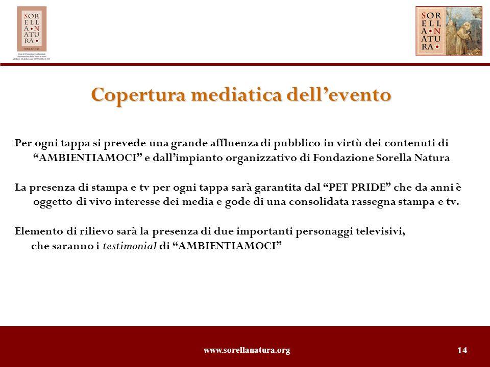www.sorellanatura.org 14 Copertura mediatica dellevento Per ogni tappa si prevede una grande affluenza di pubblico in virtù dei contenuti di AMBIENTIA