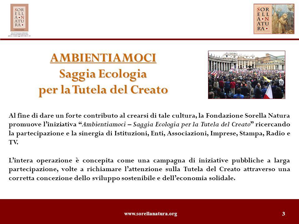 www.sorellanatura.org 4 Dove si svolgerà Dove si svolgeràAmbientiamoci Saggia Ecologia per la Tutela del Creato Apertura a ROMA, domenica 30 settembre 2007, allAngelus Papale, per celebrare il 4 Ottobre, festa di S.