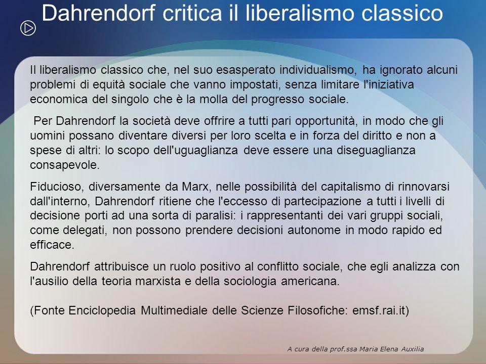 Dahrendorf critica il liberalismo classico Il liberalismo classico che, nel suo esasperato individualismo, ha ignorato alcuni problemi di equità sociale che vanno impostati, senza limitare l iniziativa economica del singolo che è la molla del progresso sociale.