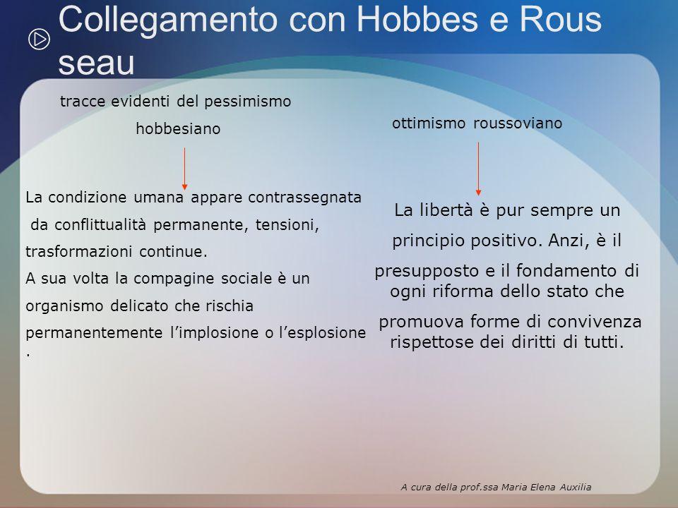 Collegamento con Hobbes e Rous seau tracce evidenti del pessimismo hobbesiano La condizione umana appare contrassegnata da conflittualità permanente, tensioni, trasformazioni continue.