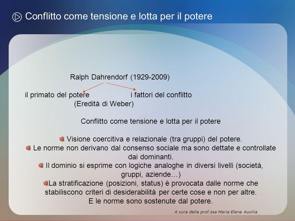 Conflitto come tensione e lotta per il potere Ralph Dahrendorf (1929-2009) il primato del potere i fattori del conflitto (Eredità di Weber) Conflitto come tensione e lotta per il potere Visione coercitiva e relazionale (tra gruppi) del potere.