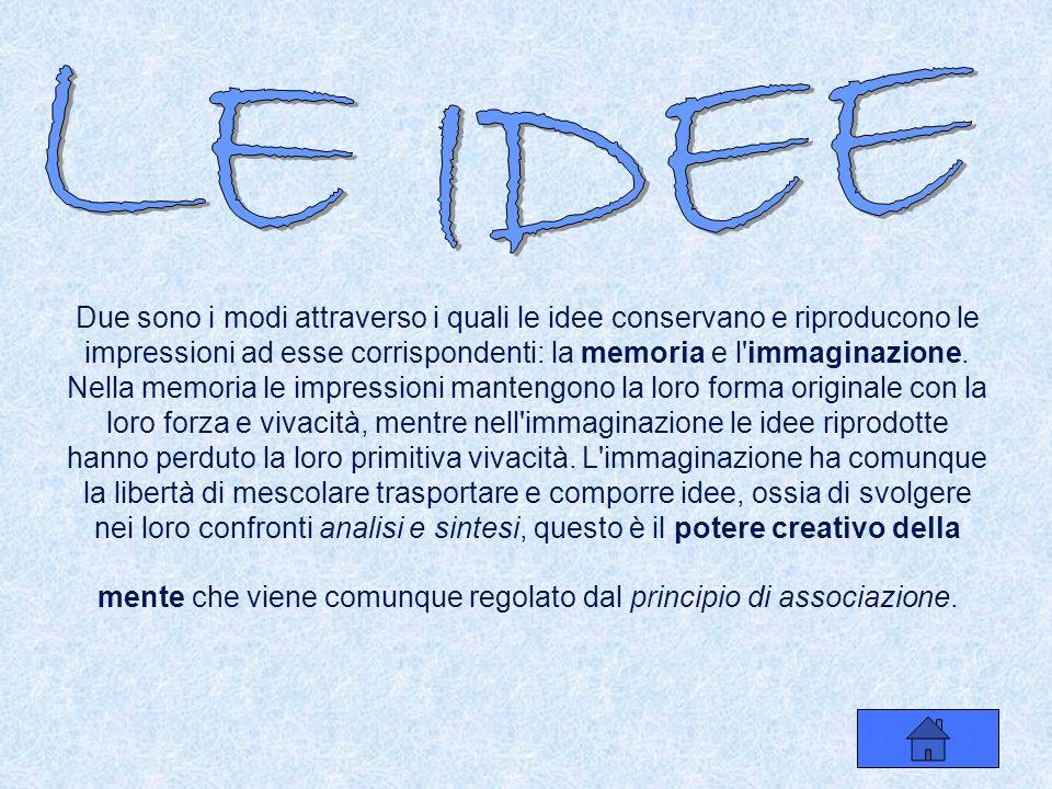 impressioni idee Impressioni & Idee: tutte le percezioni della mente umana- scrive Hume- si possono dividere in due classi, che chiamerò impressioni e idee.