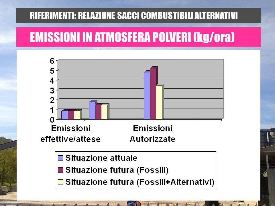 RIFERIMENTI: RELAZIONE SACCI COMBUSTIBILI ALTERNATIVI EMISSIONI IN ATMOSFERA POLVERI (kg/ora)