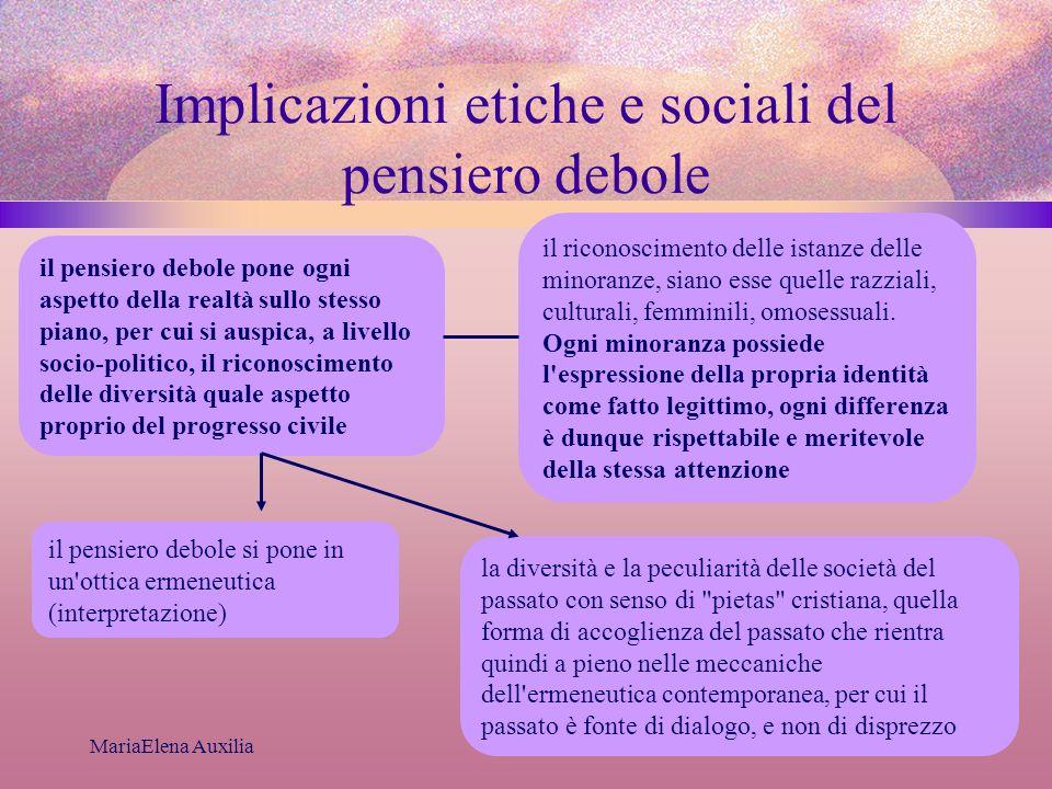 MariaElena Auxilia Implicazioni etiche e sociali del pensiero debole il pensiero debole pone ogni aspetto della realtà sullo stesso piano, per cui si