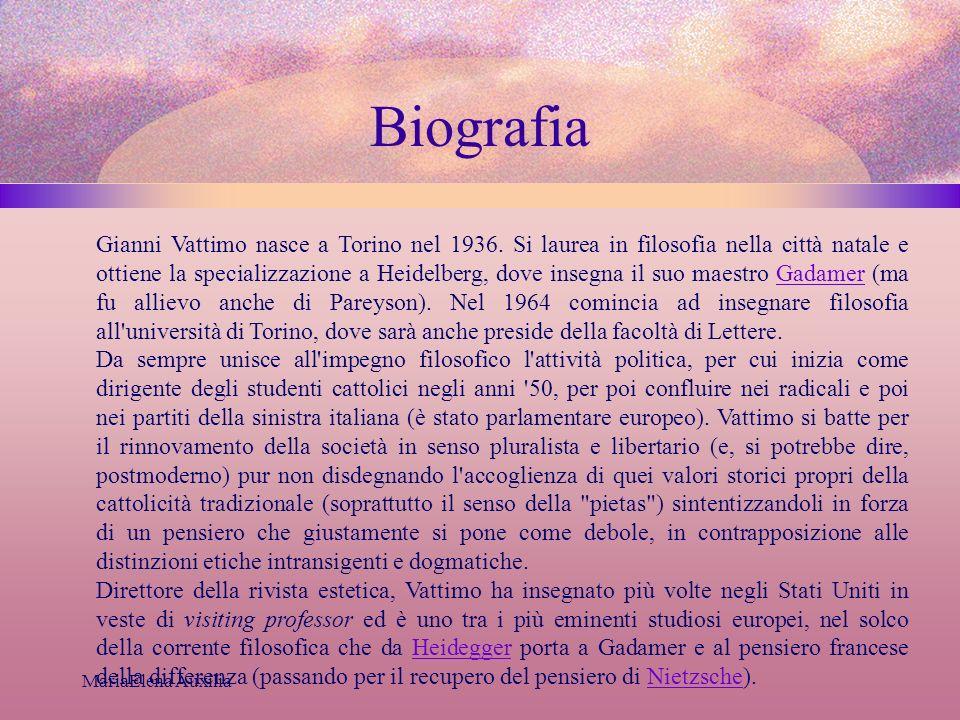MariaElena Auxilia Biografia Gianni Vattimo nasce a Torino nel 1936. Si laurea in filosofia nella città natale e ottiene la specializzazione a Heidelb