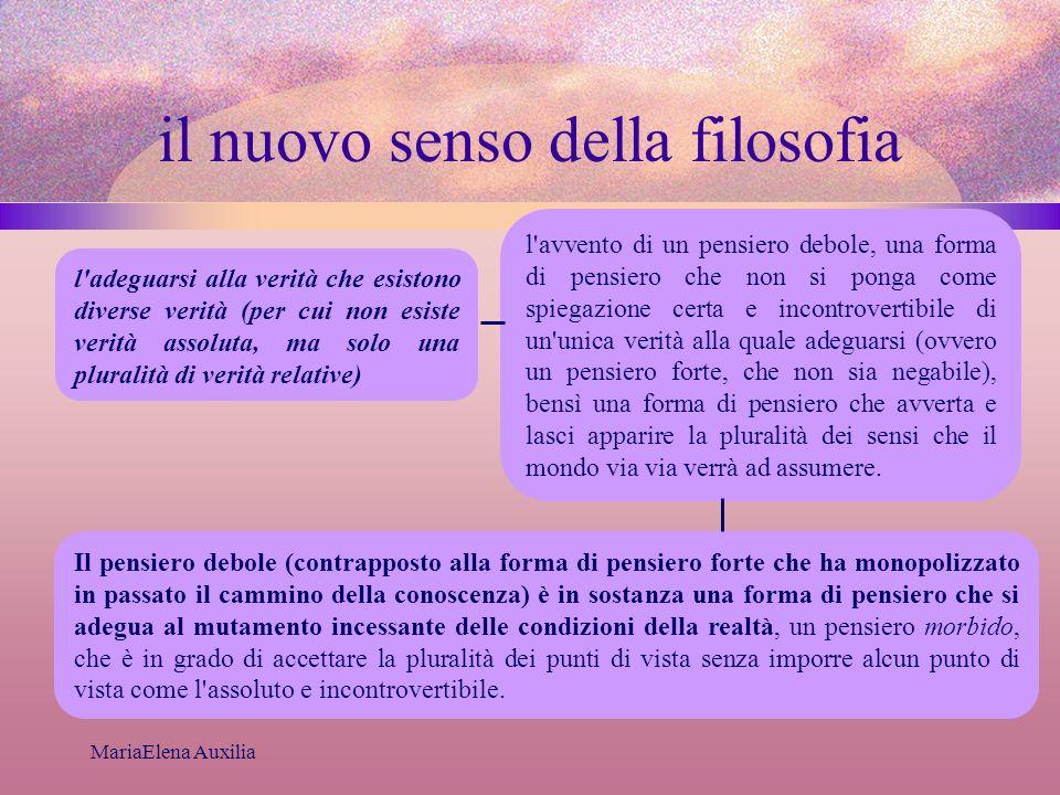 MariaElena Auxilia il nuovo senso della filosofia l'adeguarsi alla verità che esistono diverse verità (per cui non esiste verità assoluta, ma solo una