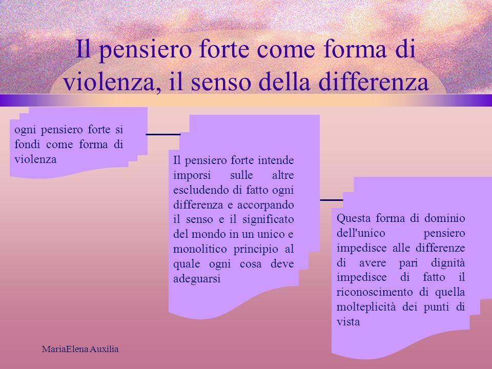 MariaElena Auxilia Il pensiero forte come forma di violenza, il senso della differenza ogni pensiero forte si fondi come forma di violenza Il pensiero