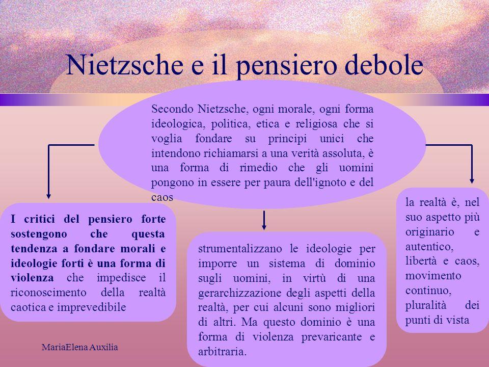 MariaElena Auxilia Nietzsche e il pensiero debole Secondo Nietzsche, ogni morale, ogni forma ideologica, politica, etica e religiosa che si voglia fon