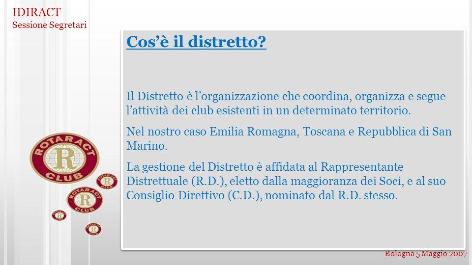 IDIRACT Sessione Segretari Bologna 5 Maggio 2007 Cosè il distretto? Il Distretto è lorganizzazione che coordina, organizza e segue lattività dei club