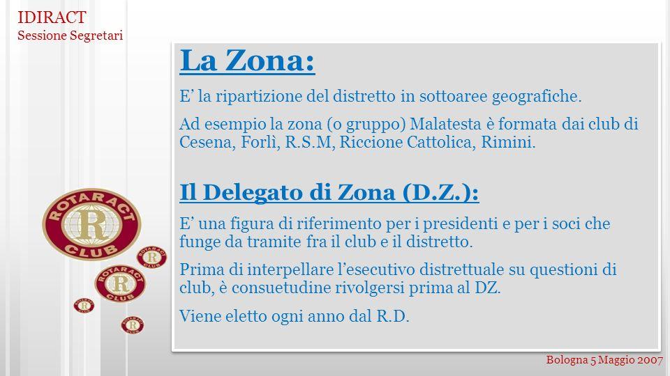 IDIRACT Sessione Segretari Bologna 5 Maggio 2007 La Zona: E la ripartizione del distretto in sottoaree geografiche. Ad esempio la zona (o gruppo) Mala