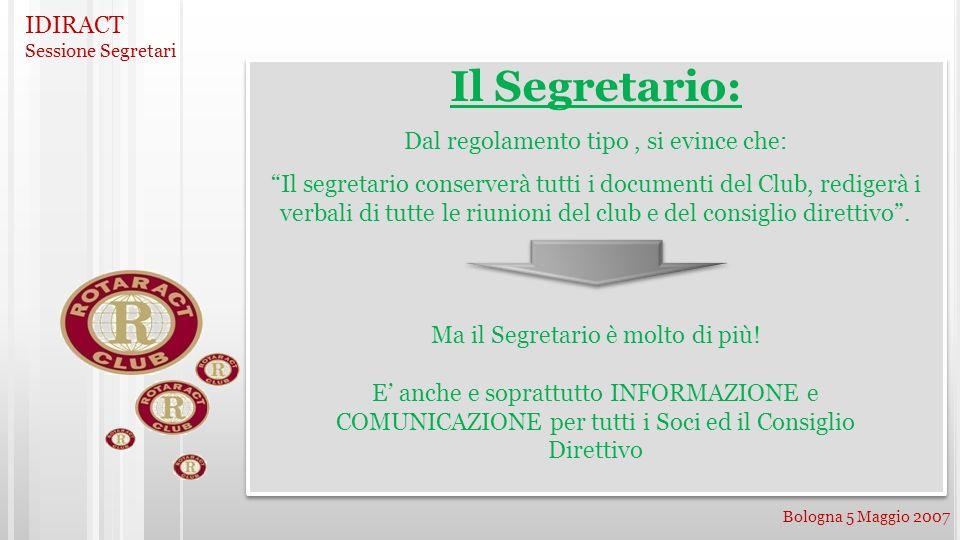 IDIRACT Sessione Segretari Bologna 5 Maggio 2007 Il Segretario: Dal regolamento tipo, si evince che: Il segretario conserverà tutti i documenti del Cl