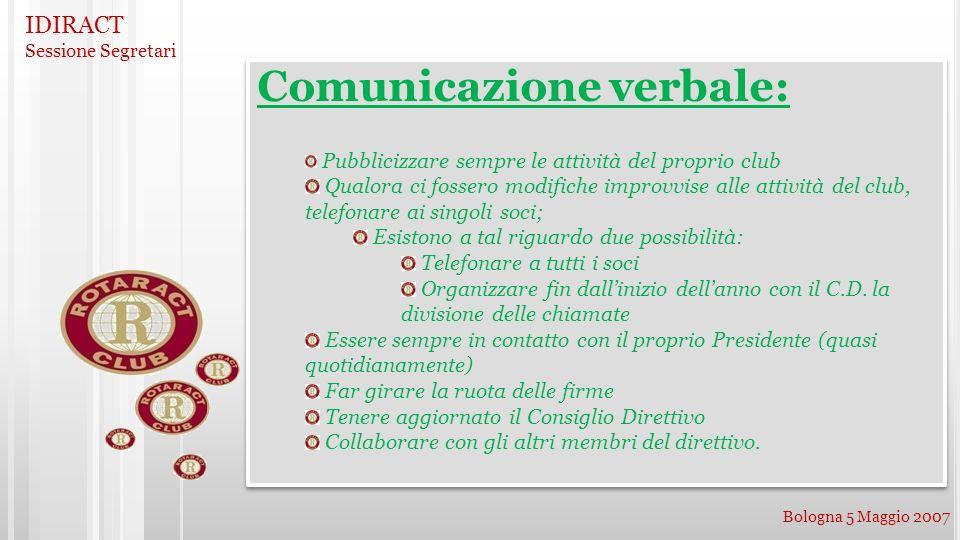 IDIRACT Sessione Segretari Bologna 5 Maggio 2007 Comunicazione verbale: Pubblicizzare sempre le attività del proprio club Qualora ci fossero modifiche