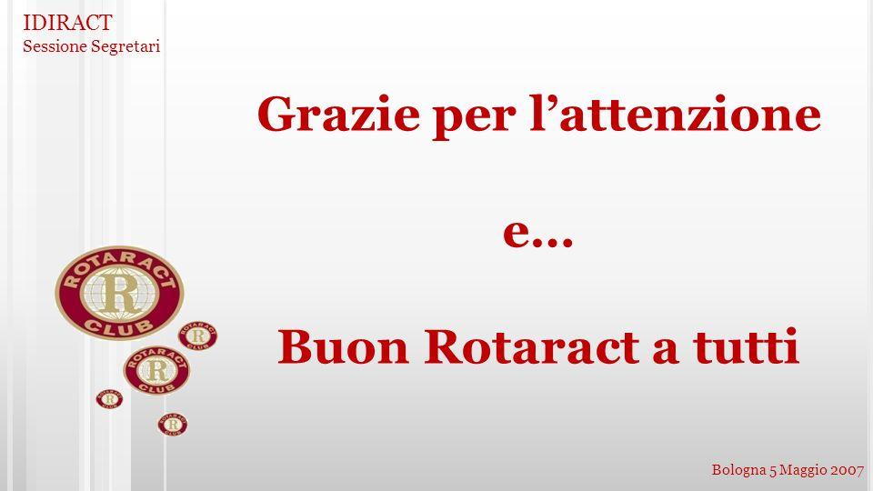 IDIRACT Sessione Segretari Bologna 5 Maggio 2007 Grazie per lattenzione e… Buon Rotaract a tutti