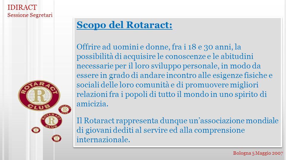 IDIRACT Sessione Segretari Bologna 5 Maggio 2007 Scopo del Rotaract: Offrire ad uomini e donne, fra i 18 e 30 anni, la possibilità di acquisire le con