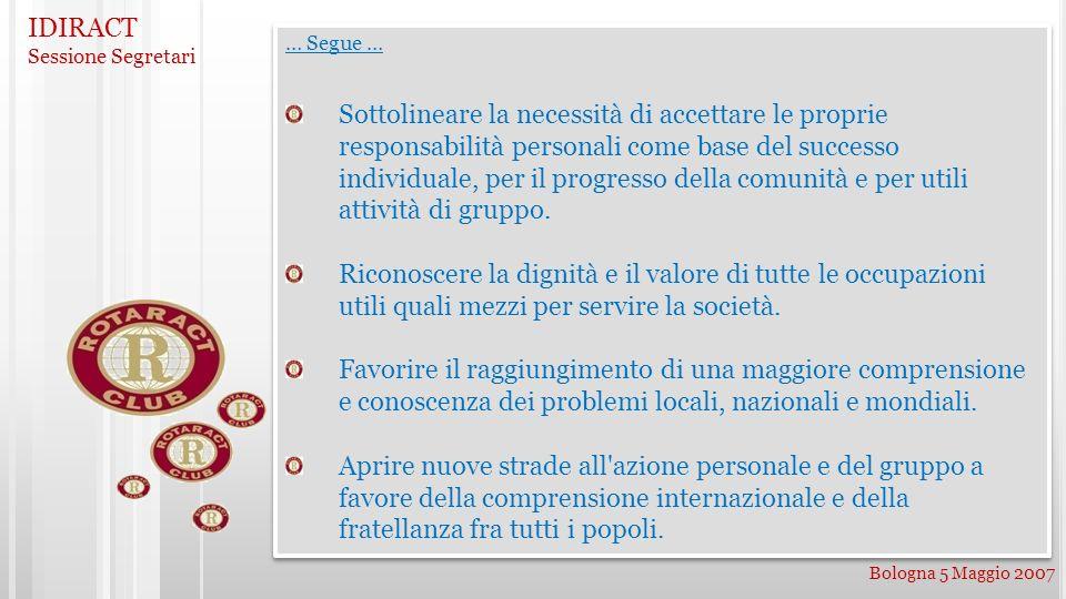 IDIRACT Sessione Segretari Bologna 5 Maggio 2007 … Segue … Sottolineare la necessità di accettare le proprie responsabilità personali come base del su