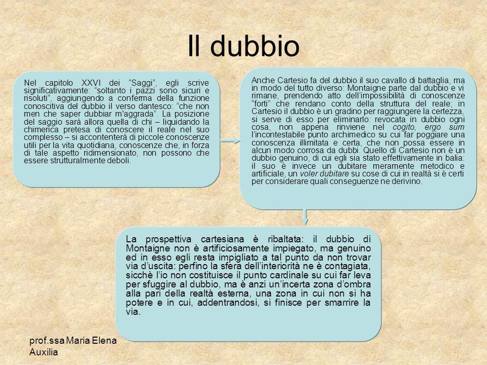 prof.ssa Maria Elena Auxilia Il dubbio Nel capitolo XXVI dei Saggi, egli scrive significativamente: soltanto i pazzi sono sicuri e risoluti, aggiungen