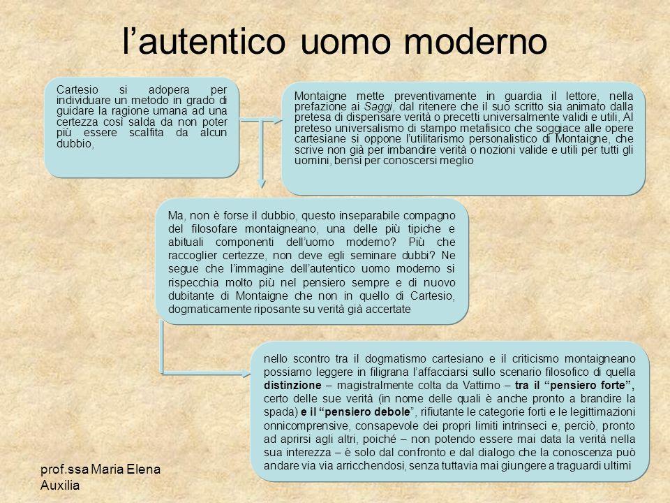 prof.ssa Maria Elena Auxilia lautentico uomo moderno Cartesio si adopera per individuare un metodo in grado di guidare la ragione umana ad una certezz