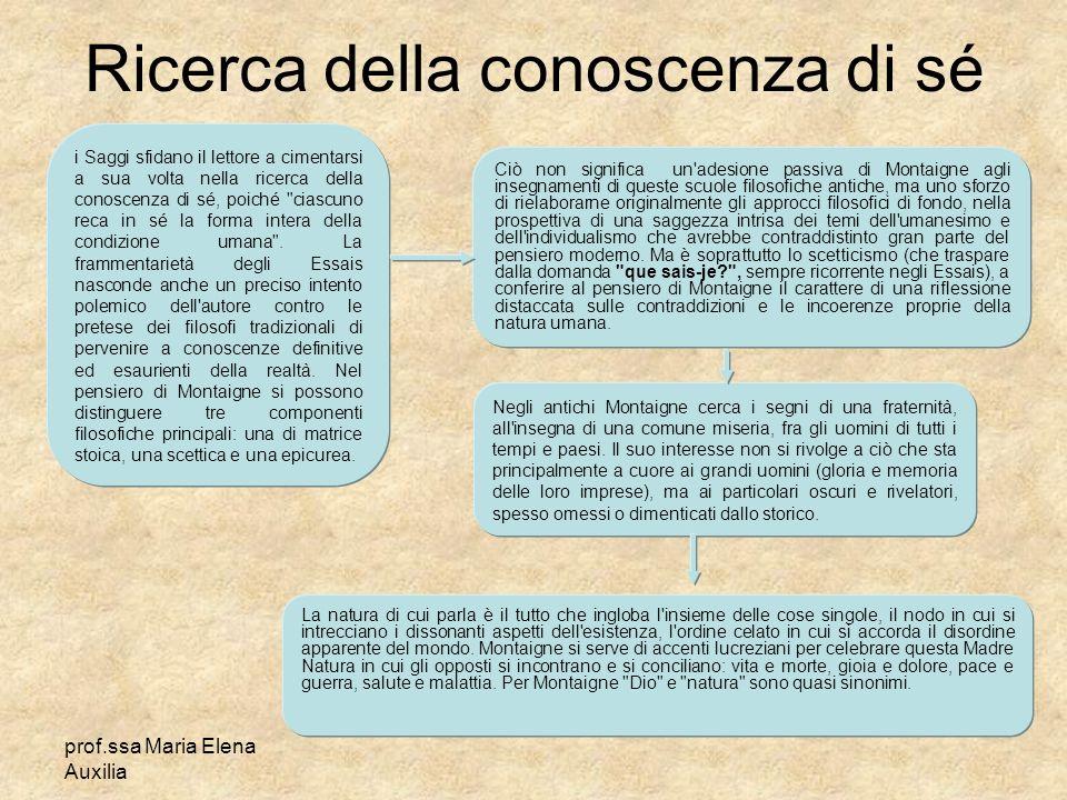 prof.ssa Maria Elena Auxilia Ricerca della conoscenza di sé i Saggi sfidano il lettore a cimentarsi a sua volta nella ricerca della conoscenza di sé,