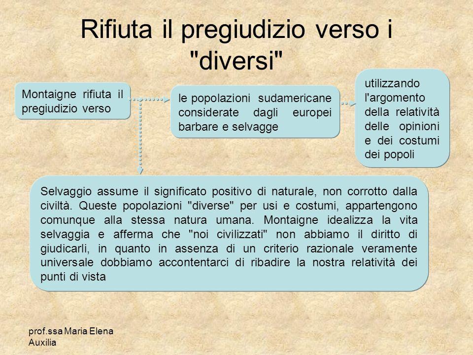 prof.ssa Maria Elena Auxilia Rifiuta il pregiudizio verso i
