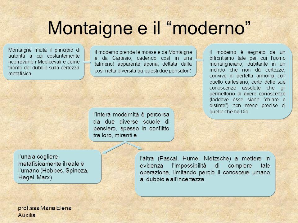 prof.ssa Maria Elena Auxilia Montaigne e il moderno Montaigne rifiuta il principio di autorità a cui costantemente ricorrevano i Medioevali e come tri
