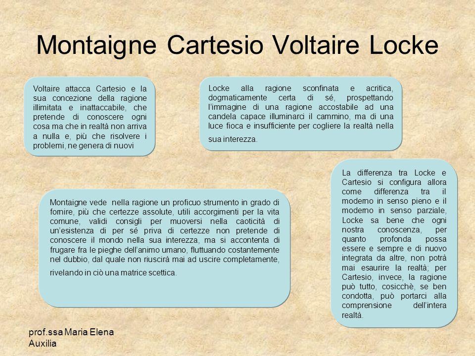 prof.ssa Maria Elena Auxilia Montaigne Cartesio Voltaire Locke Voltaire attacca Cartesio e la sua concezione della ragione illimitata e inattaccabile,