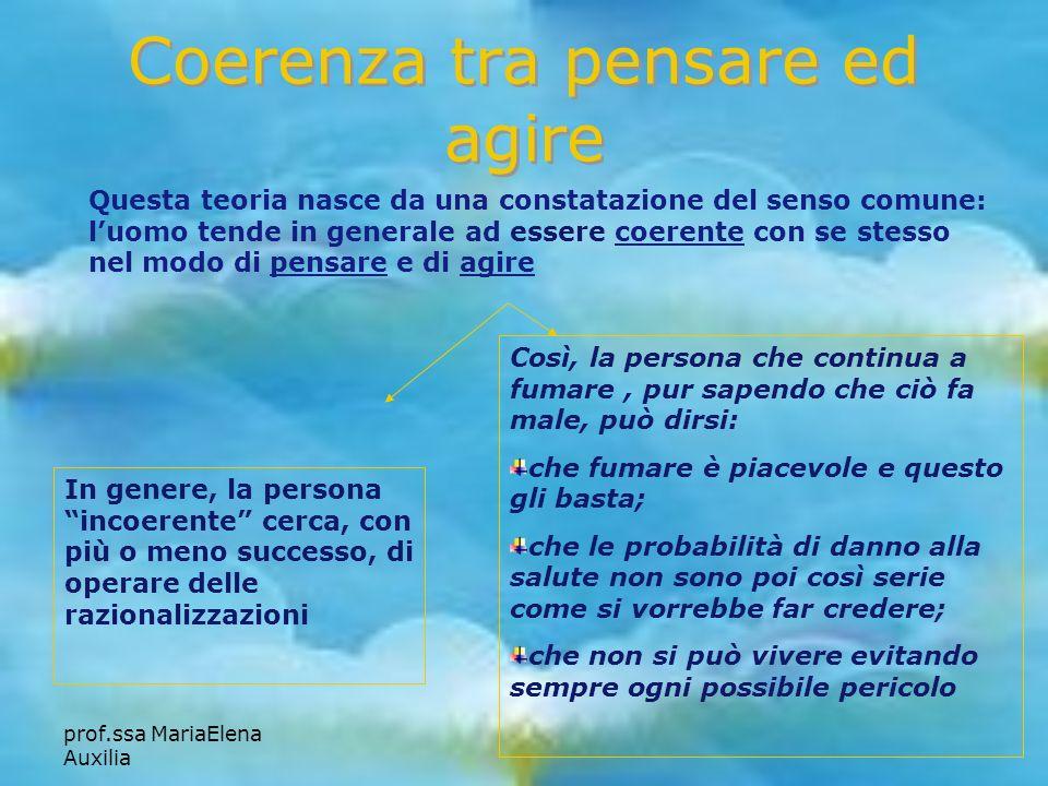 prof.ssa MariaElena Auxilia Coerenza tra pensare ed agire Questa teoria nasce da una constatazione del senso comune: luomo tende in generale ad essere