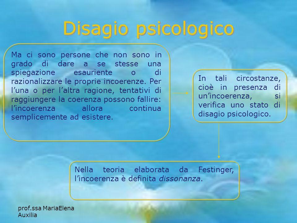 prof.ssa MariaElena Auxilia Disagio psicologico Ma ci sono persone che non sono in grado di dare a se stesse una spiegazione esauriente o di razionali