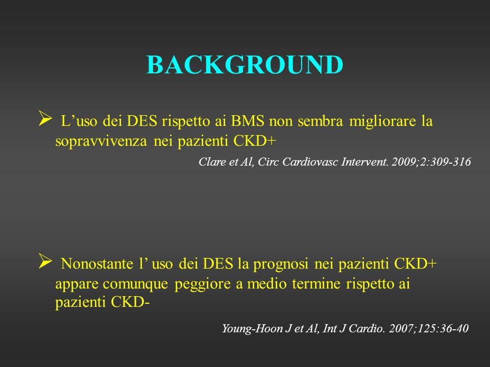 BACKGROUND Luso dei DES rispetto ai BMS non sembra migliorare la sopravvivenza nei pazienti CKD+ Clare et Al, Circ Cardiovasc Intervent.