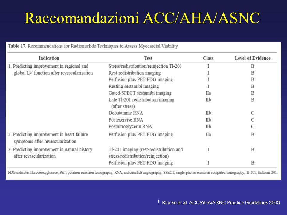Raccomandazioni ACC/AHA/ASNC 1 : Klocke et al. ACC/AHA/ASNC Practice Guidelines 2003