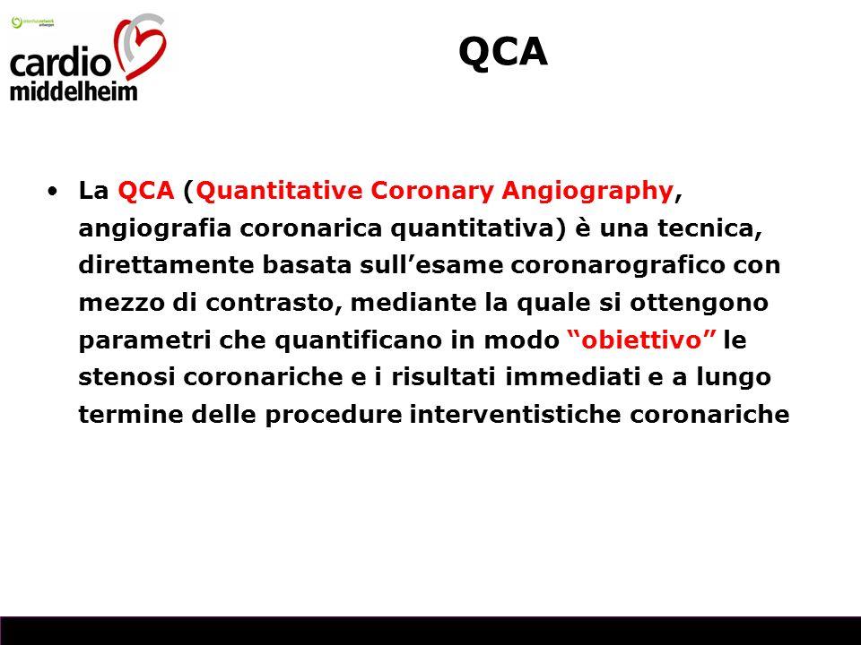 La QCA (Quantitative Coronary Angiography, angiografia coronarica quantitativa) è una tecnica, direttamente basata sullesame coronarografico con mezzo di contrasto, mediante la quale si ottengono parametri che quantificano in modo obiettivo le stenosi coronariche e i risultati immediati e a lungo termine delle procedure interventistiche coronariche QCA