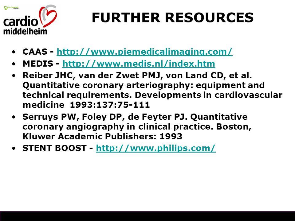 CAAS - http://www.piemedicalimaging.com/http://www.piemedicalimaging.com/ MEDIS - http://www.medis.nl/index.htmhttp://www.medis.nl/index.htm Reiber JHC, van der Zwet PMJ, von Land CD, et al.