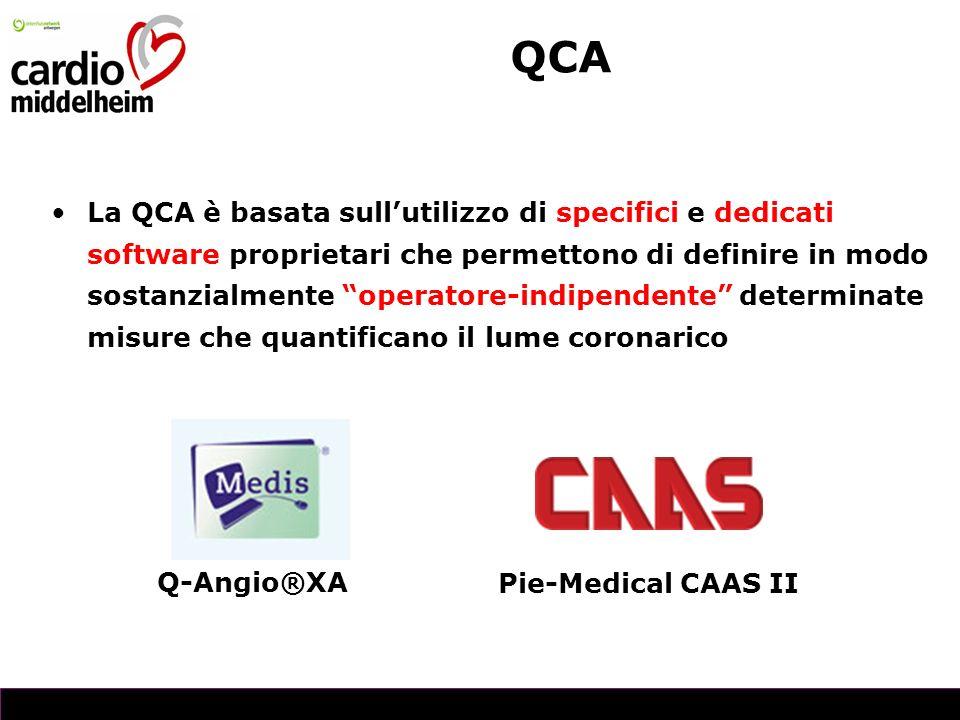La QCA è basata sullutilizzo di specifici e dedicati software proprietari che permettono di definire in modo sostanzialmente operatore-indipendente determinate misure che quantificano il lume coronarico QCA Q-Angio®XA Pie-Medical CAAS II