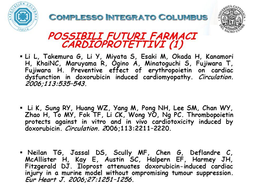 POSSIBILI FUTURI FARMACI CARDIOPROTETTIVI (1) Li L, Takemura G, Li Y, Miyata S, Esaki M, Okada H, Kanamori H, KhaiNC, Maruyama R, Ogino A, Minatoguchi S, Fujiwara T, Fujiwara H.