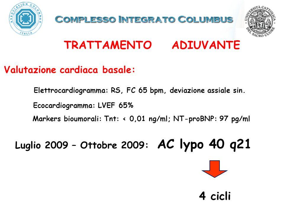 TRATTAMENTO ADIUVANTE Valutazione cardiaca basale: Ecocardiogramma: LVEF 65% Luglio 2009 – Ottobre 2009: AC lypo 40 q21 4 cicli Elettrocardiogramma: RS, FC 65 bpm, deviazione assiale sin.