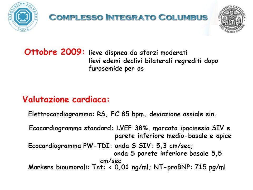 Valutazione cardiaca: Ecocardiogramma standard: LVEF 38%, marcata ipocinesia SIV e parete inferiore medio-basale e apice Elettrocardiogramma: RS, FC 8