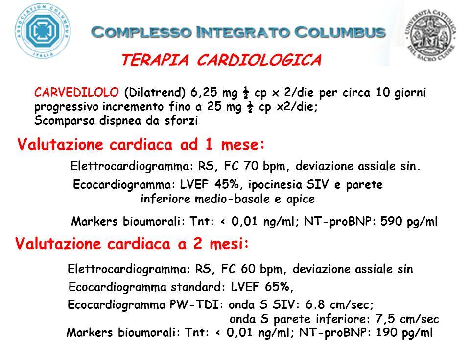 Valutazione cardiaca ad 1 mese: Ecocardiogramma: LVEF 45%, ipocinesia SIV e parete inferiore medio-basale e apice Elettrocardiogramma: RS, FC 70 bpm, deviazione assiale sin.