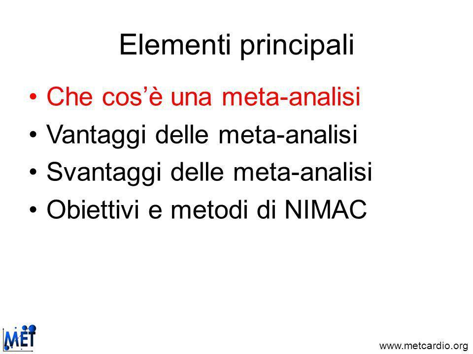 www.metcardio.org Elementi principali Che cosè una meta-analisi Vantaggi delle meta-analisi Svantaggi delle meta-analisi Obiettivi e metodi di NIMAC
