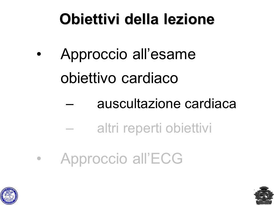 Obiettivi della lezione Approccio allesame obiettivo cardiaco –auscultazione cardiaca –altri reperti obiettivi Approccio allECG
