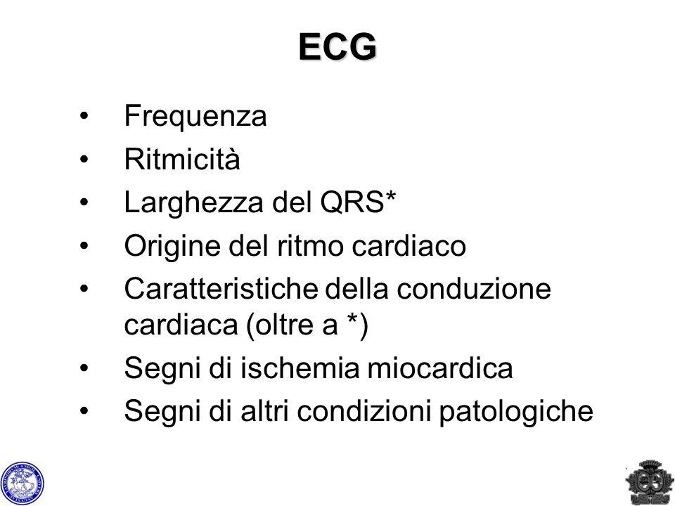 ECG Frequenza Ritmicità Larghezza del QRS* Origine del ritmo cardiaco Caratteristiche della conduzione cardiaca (oltre a *) Segni di ischemia miocardi