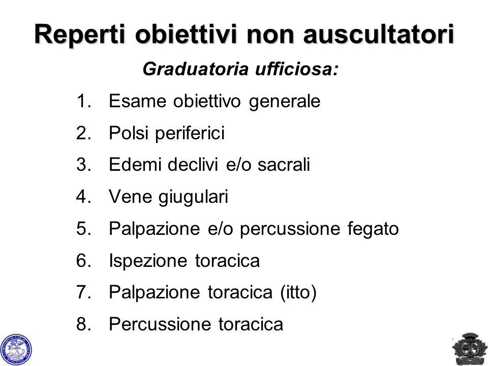 Reperti obiettivi non auscultatori Graduatoria ufficiosa: 1.Esame obiettivo generale 2.Polsi periferici 3.Edemi declivi e/o sacrali 4.Vene giugulari 5